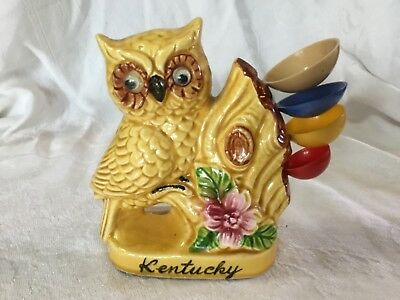 Vintage KENTUCKY Owl Measuring Spoon Set Holder Figurine