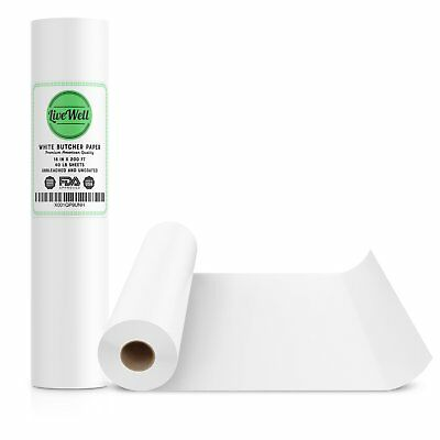 White Kraft Butcher Paper Roll - 18 Inch x 200 Feet (2400 Inch) - Food Grade FDA