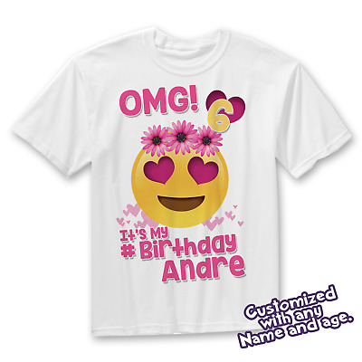 Birthday Shirt For Girls OMG Emoji Girl T Its My