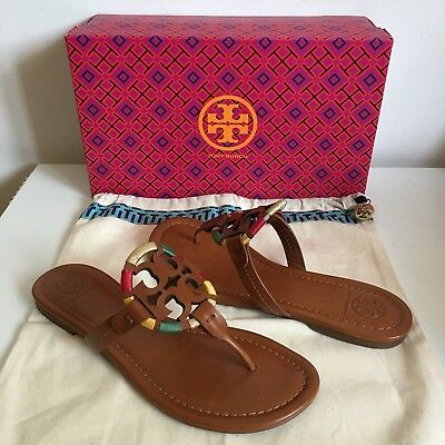 5e6798474cf1fb  228 Sz 7 M Tory Burch Miller Embroidered Leather Sandal Vintage Vachetta