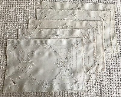 5 Vintage Linen Placemats Embroidery Drawnwork 16 x 10.5