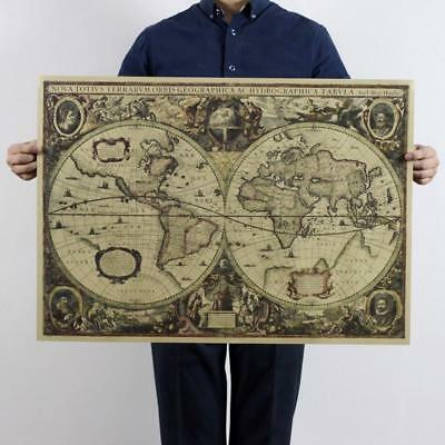 1641 Historic Vintage Retro Wall Paper Chart Earth's World Map Poster Decor Gift