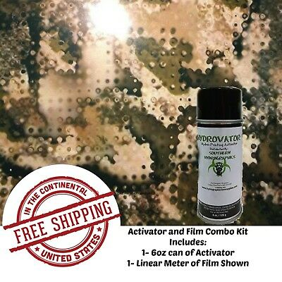 Hydrographic Water Transfer Hydro Dip 6 Oz Activator & Army Camo 5 1M Film Kit