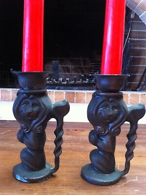 Antique Vintage Bronze Lion Candle Sticks Pair Medieval Gothic Candle Holders.