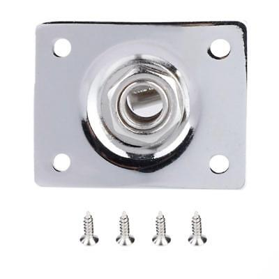 6.35mm Rectangle Output Jack Plate Socket for LP Style Electric Guitar Silver