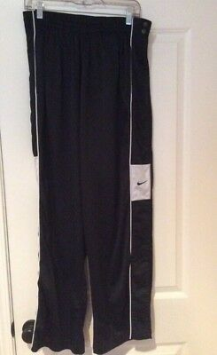 Nike Basketball Sz L Tear Away Warm Up Pants Black Snaps