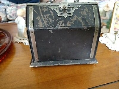 antique 19C leather fold book case sewing kit set silver tone embellishments
