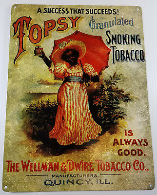 Topsy Granulated Smoking Tobacco Lil Girl Black Americana Heavy Duty Metal Sign
