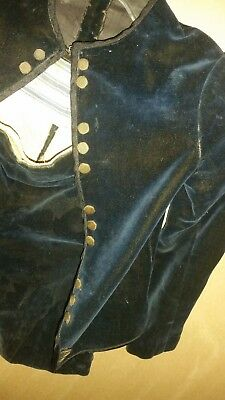Hand Sewn Antique Velvet Victorian Era Navy Blue Little Boys Fauntleroy Suit