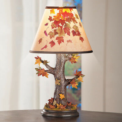 Autumn Maple Leaves Tree Table Lamp Fall Holiday Reading Light
