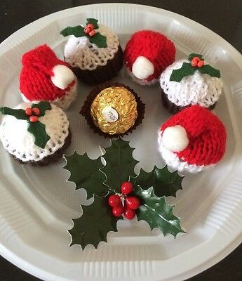 6 x Hand Knitted Xmas Puddings Santa Hats Ferrero Rocher Chocolate Covers