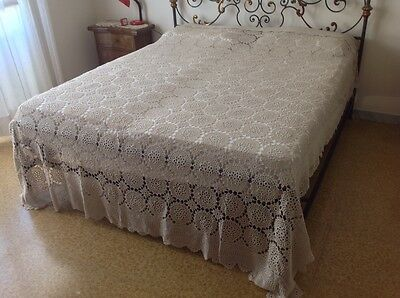 Vintage Antique Bedspread Coverlet crochet bed cover lace handmade lace huge
