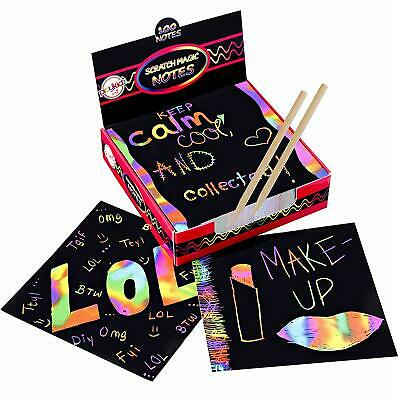 Scratch Art Rainbow Mini Notes (100ct) & [2] Stylus,  for Kids & Adults  100