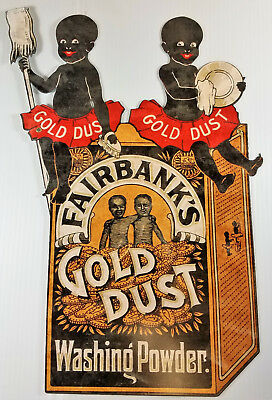Fairbanks Gold Dust Twins Washing Powders Black Americana Heavy Duty Metal Sign