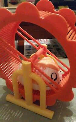 Brand New Vintage Epoch Japan Hamtaro hamster running in hamster wheel toy