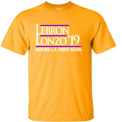 GOLD Lebron James Lonzo Ball Los Angeles Lakers 19 T-Shirt