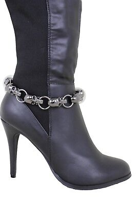 Women Fashion Gunmetal Metal Chain Boot Bracelet Shoe Bones Skulls Strap Charms