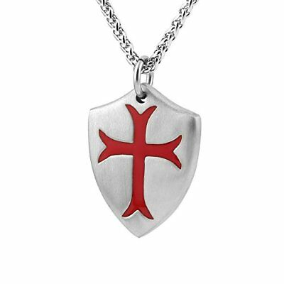 HZMAN Knights Templar Cross Joshua 1:9 Shield Stainless Steel Pendant Necklac...