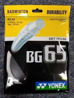 Yonex BG-65 BG65 BG 65 Badminton String White 22 Gauge 0.70mm NEW