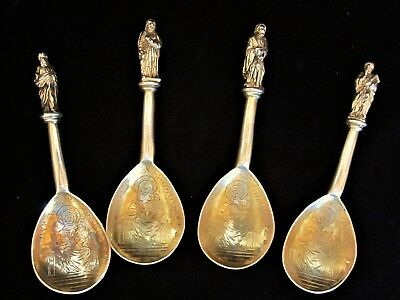 4 Antique 1860's Austria-Hungary 812 Silver - Ave Maria Apostle Spoons - 228 g.