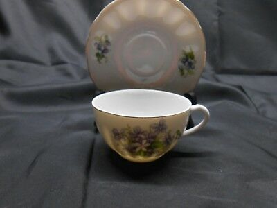 Purple Violets Tea Cup & Saucer Made in Japan Red Laurel Leaf Backstamp