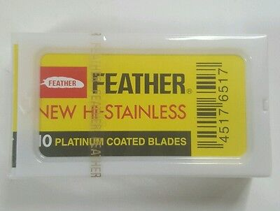 Feather Hi Stainless DE Blades (7) Double Edge Safety Razor Blades