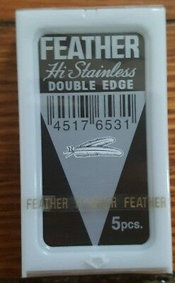 Black Feather Hi Stainless Double Edge DE Safety Razor Blades (7) Black Label