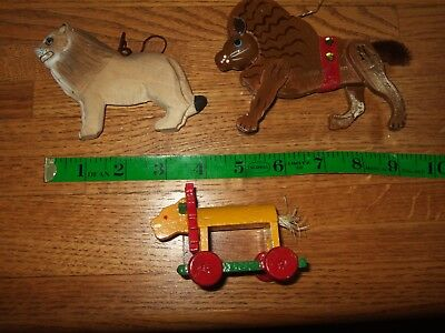lot 3 vintage lion wooden wood ornaments circus painted CHristmas cute colorful