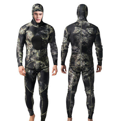 Men Camo 3mm Neoprene Wetsuit Two-Piece Hooded Spearfishing Diving Suit Swimwear