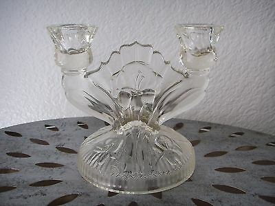 Antique Art Deco Depression Glass Candelabra Candlestick IRIS Crystal Floral
