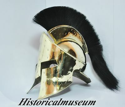 Brass Spartan King 300 Movie Helmet W Black Plume HM78 reenactment