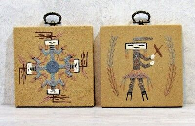 Lot of 2 NAVAJO SAND PAINTINGS on Particle Board Signed Native American Indian