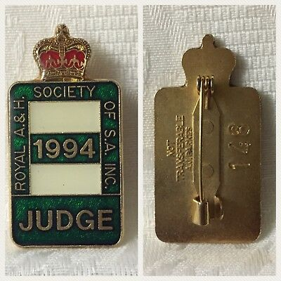 S.A. Royal Show Badge - 1994 Judge - R.A.H.S. of S.A.