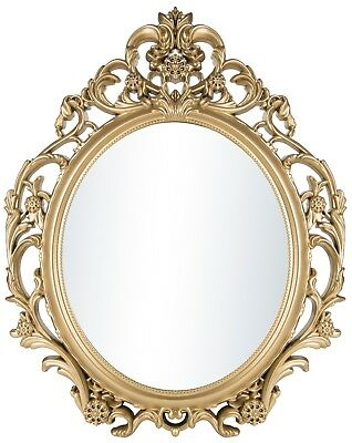 Home Decor Wall Mirror Vintage Antique Baroque Hanging Gold Oval Framed Mirror