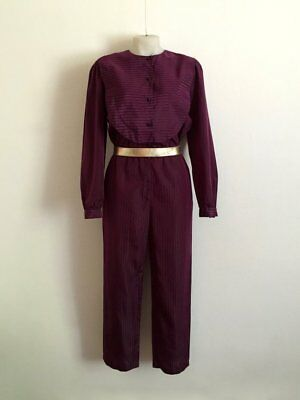 Sensational 1970s 'Mr K' plum coloured long sleeved taffeta jumpsuit