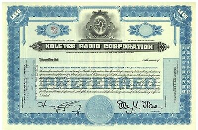 Kolster Radio Corporation.  Stock Certificate