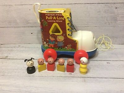 Vintage Fisher Price Pull-A-Long Lacing Shoe With Little People!