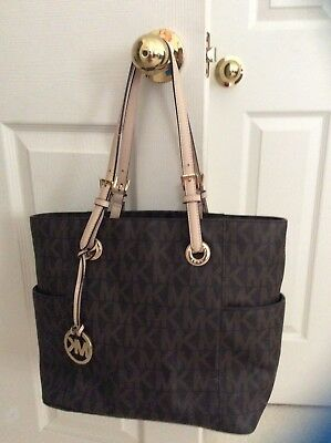 d874266db4eb21 NEW WOMEN'S MICHAEL Kors Xs Carryall Brown Olive Palm Signature Tote ...