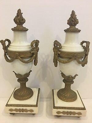 Pair Of Antique French Marble Garniture Urns with  Gilt Metal Mounts  H 11""