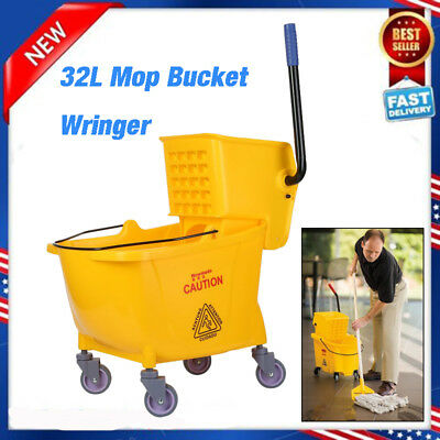 Rolling Mini Side Press Mop Bucket with Wringer 33qt / 8.45 Gallons/32L Yellow X