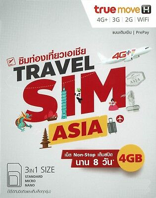 Asia SIM Card Prepaid Data Card, 4 GB Data 4G LTE, 8 Days, 13 countries included