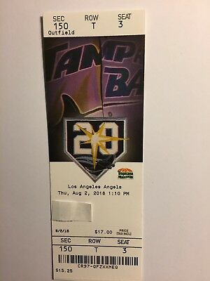 Tampa Bay Rays Vs Los Angeles Angels  August 2, 2018 Ticket Stub