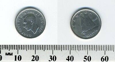 Canada 1940 - 10 Cents Silver Coin - King George VI - Bluenose sailing - ERROR