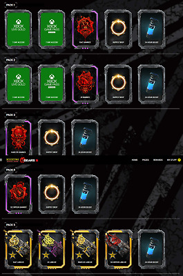 Gears Of War 5 Rockstar Xbox One Codes - Pack 1-5 Banners, Boosts, Lancer Skins