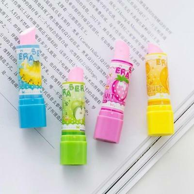 1pcs Lovely Lipstick Style Rubber Fruit Pencil Eraser Office Stationery Gift Toy