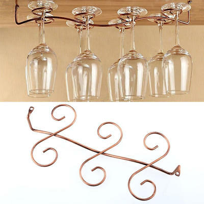 6 Wine Glass Rack Stemware Hanging Under Cabinet Holder Hanger Shelf Bar