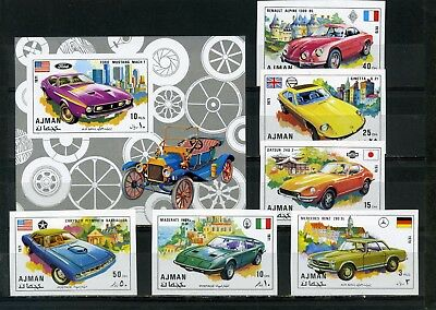 AJMAN 1971 Mi#956-961B, Bl.291B OLD CARS SET OF 6 STAMPS & S/S IMPERF.MNH