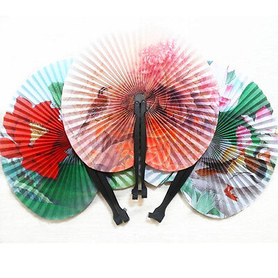 KE_3Pcs Foldable Chinese Oriental Floral Paper Hand Fans Wedding Table Favors AU
