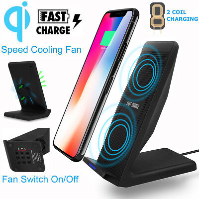 2 Coils Wireless Charger Qi Fast Charging Stand with Fan For iPhone X Samsung S9