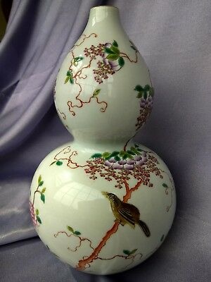 Antique Chinese Porcelain Gourd Vase Qianlong Mark famille rose Qing/Ching